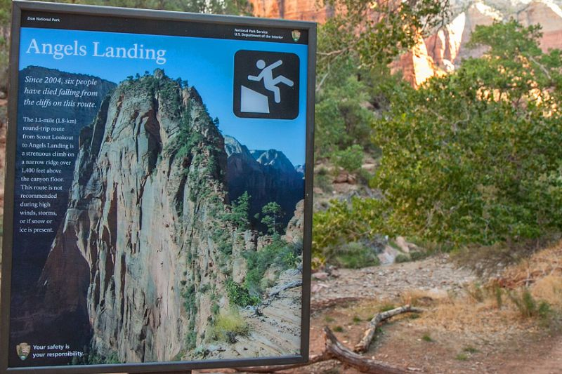 Warntafel am Angels Landing